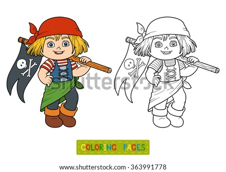 Coloring book for children (pirate girl)
