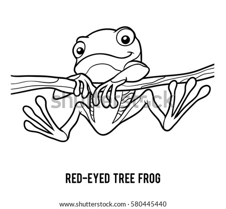 red eyed tree frog coloring page - education paper game children frog use stock vector