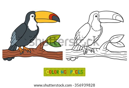 Coloring book for children (toucan) - stock vector