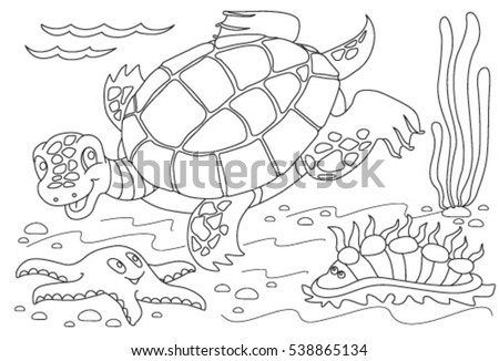 coloring book for children turtle swimming under water