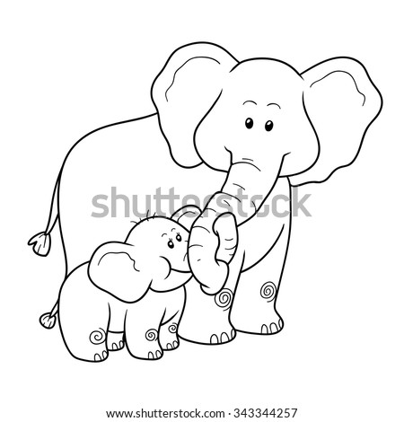 Coloring book for children: two elephants