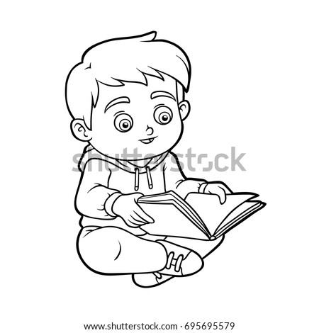 Coloring Book Children Young Boy Reading Stock Vector 695695579 ...