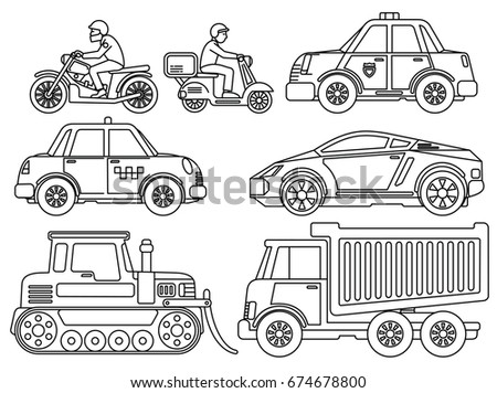 Coloring Book for Kids. Hand Drawn Cartoon Transport. Cars, Truck, Bike, Scooter, Bulldozer, Motorbike, Tractor. Vector Sketch Icon Set