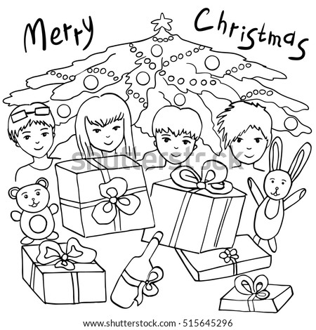 Coloring Book For Kids Vector Illustration Merry Christmas Page Outline Of Cartoon Girl