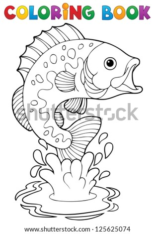 Coloring book freshwater fishes 2 - vector illustration. - stock vector