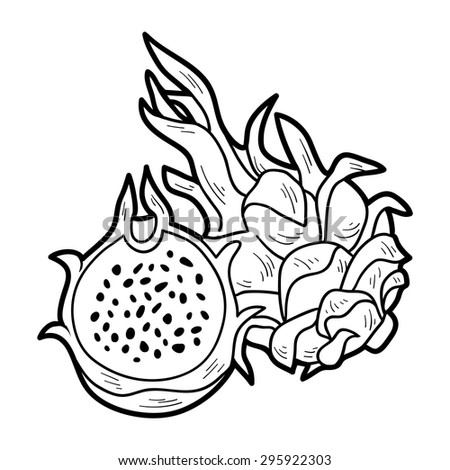 Coloring Book Fruits And Vegetables Dragon Fruit