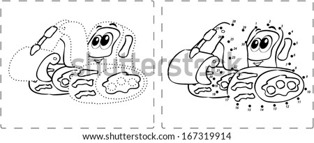 Coloring book. Funny excavator drawing with dots and digits - stock vector