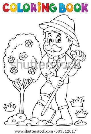 Coloring book gardener planting tree - eps10 vector illustration.