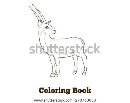 Coloring book gazelle african animal cartoon educational illustration - stock vector