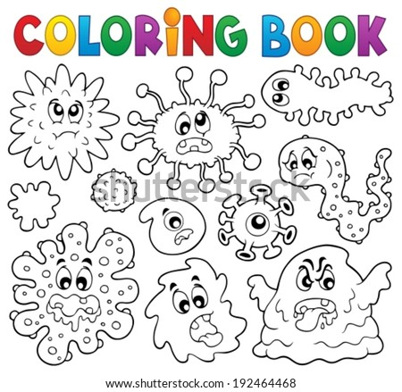 Coloring book germs theme 1 - eps10 vector illustration. - stock vector
