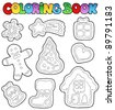Coloring book gingerbread 1 - vector illustration. - stock photo