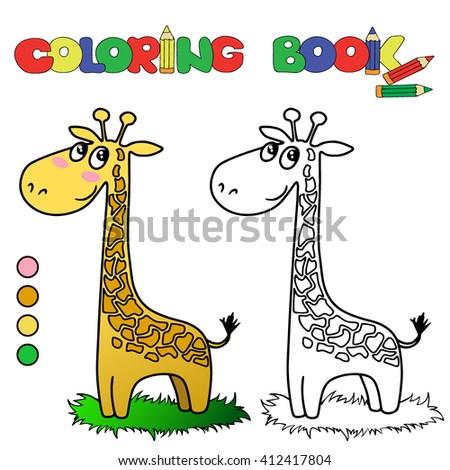 Coloring Book Giraffe Stock Vector 412417804