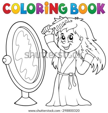 Coloring book girl combing hair theme 1 - eps10 vector illustration. - stock vector