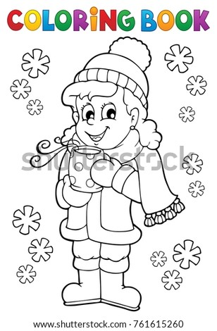 Coloring book girl in winter clothes - eps10 vector illustration.