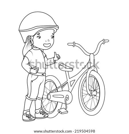 coloring book girl with bicicle