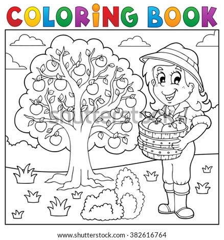 Coloring book girl with collected apples - eps10 vector illustration. - stock vector