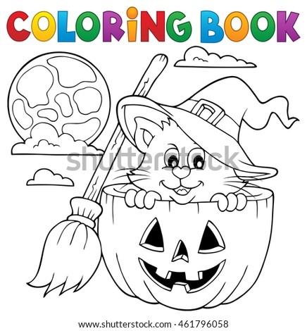 Coloring book Halloween cat theme 1 - eps10 vector illustration.