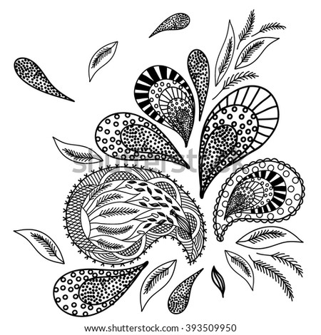 Coloring  book. Hand drawn. Adults, children.Black and white. A set of decorative plant elements. - stock vector