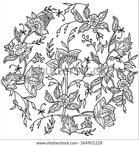 Coloring  book. Hand drawn. Adults, children.Black and white.Floral motif in a circle. - stock vector