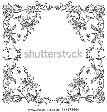 Coloring  book. Hand drawn. For Adults, children. Black and white. Flowers.  A set of decorative plant elements. - stock vector