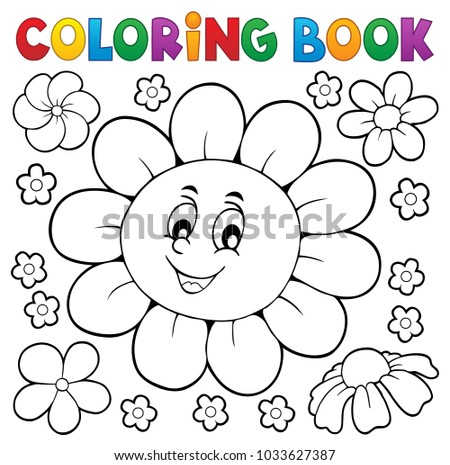 Coloring book happy flower head 1 - eps10 vector illustration.