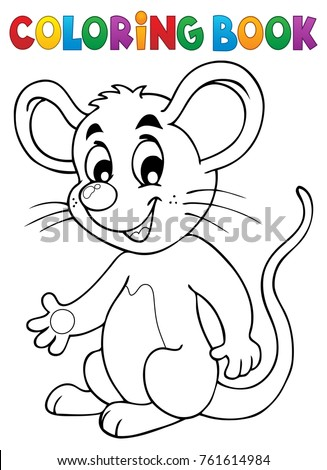 Coloring book happy mouse - eps10 vector illustration.