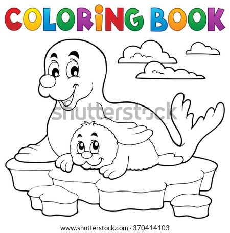 Coloring book happy seal with pup - eps10 vector illustration.