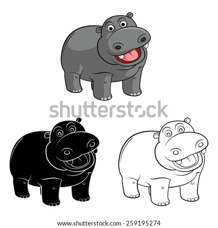 Coloring book Hippo cartoon character - vector illustration .EPS10 - stock vector