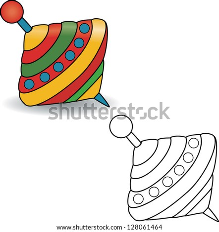 Coloring book  Humming-top  whirligig - vector illustration  - stock    Whirligig Beetle Drawing