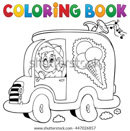 Coloring book ice cream man in car - eps10 vector illustration.