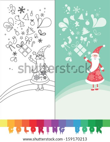 Coloring book, illustration for the children, Christmas thematics  - vector illustration.