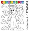 Coloring book image with angel 1 - vector illustration. - stock vector