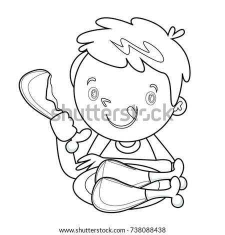 Coloring Book In Children Eating Habit Theme