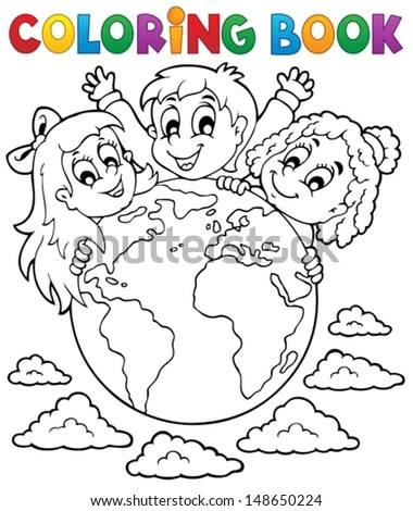 Coloring book kids theme 2 - eps10 vector illustration. - stock vector