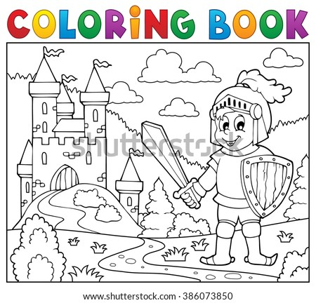Coloring book knight near castle - eps10 vector illustration. - stock vector