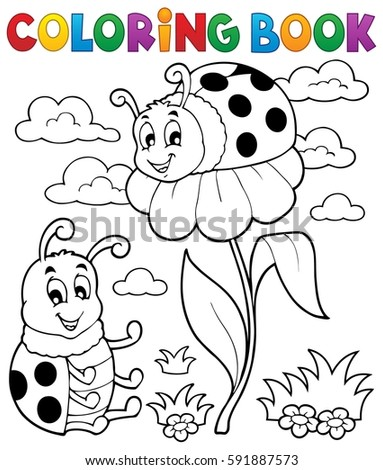 Coloring book ladybug theme 3 - eps10 vector illustration.
