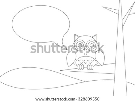 Coloring book - Landscape with owl siting on a tree with speech bubble - stock vector