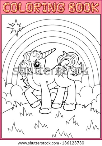 Coloring book. Little unicorn from fairy tale about the princess - stock vector