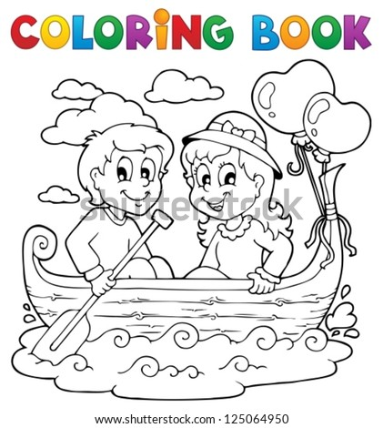 Coloring book love theme image 1 - vector illustration. - stock vector