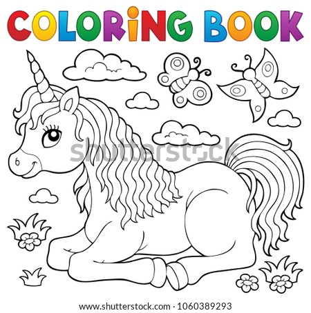 Coloring Book Lying Unicorn Theme 1