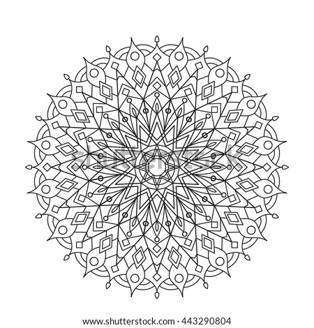 Coloring Book Mandala. Circle lace ornament, round ornamental mandala pattern, black and white design. vector for coloring page for adults - stock vector