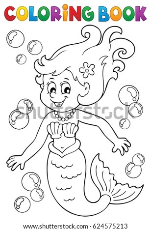 Coloring book mermaid topic 1 - eps10 vector illustration.