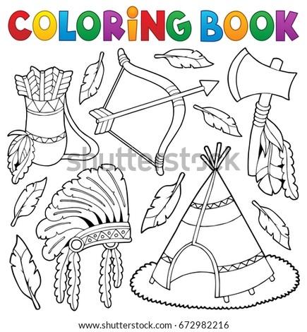 coloring book native american theme 1 eps10 vector illustration - Native American Coloring Book