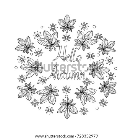 Coloring Book Autumn Leaves Flowers Adultvector Stock Vector ...