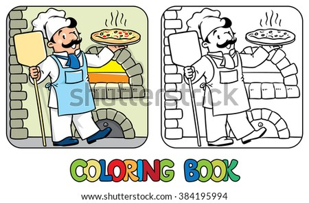 Coloring book of funny cook or chef  with pizza  - stock vector