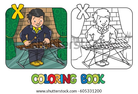 coloring book of funny musician or xylophone player profession abc series children vector illustration