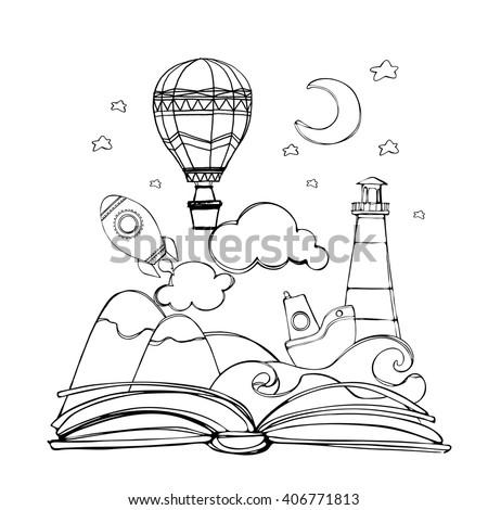 Coloring Book Open Book Rocket Mountain Stock Vector (2018 ...