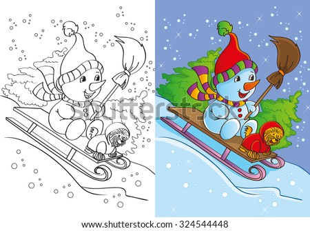 Coloring book or cartoon Christmas Illustration of funny snowman for children - stock vector