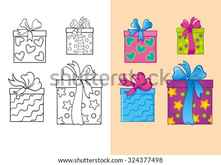 Coloring book or cartoon Illustration of Christmas gifts for children