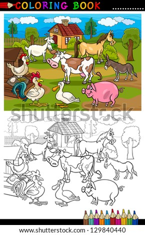 Coloring Book or Coloring Page Cartoon Vector Illustration of Funny Farm and Livestock Animals for Children Education - stock vector